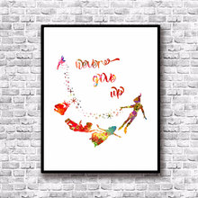Never Grow Up Art Print Nursery Watercolor Painting Peter Pan Quotes Movie Baby Decor Wall Art Poster No Frame L131(China)