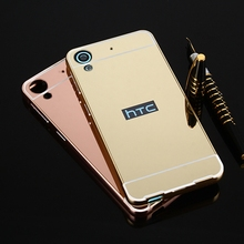 Luxury gold metal plating Aluminum alloy Bumper soft acrylic mirror slim cover skin mobile phone frame case For HTC desire 628(China)
