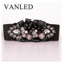 Vanled New Women Elastic Waist Belt Luxury Black Lace Wide Stretchy Waistband Jeweled Belts Best Gift For Girls Cinture Corsetto
