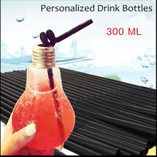 2016 New Lamp Beverage Bottle Milk bottle lamp Creative Juice tea shop drink bottles with straw free shipping 250ML(China)
