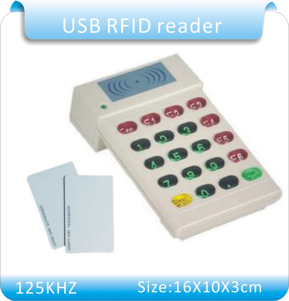 FREE shipping YLE706 USB port 125KHz RFID Proximity ID Card Reader+number keyboard ,10 bits decimal  +10pcs<br><br>Aliexpress