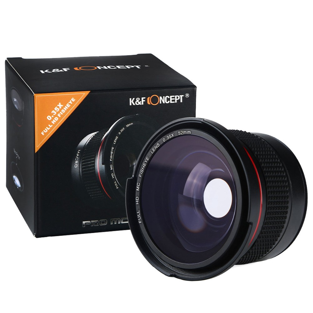 K&F CONCEPT 0.35x 52mm Fisheye Lens Wide Angle Macro Super HD Panoramic Fish Eye Lens for Canon 7D Digital DSLR Camera Camcorder 16
