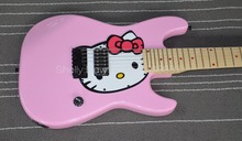 Shelly new store factory custom 7 strings pink hello kitty guitar reverse headstock ST electric guitar musical instruments shop(China)