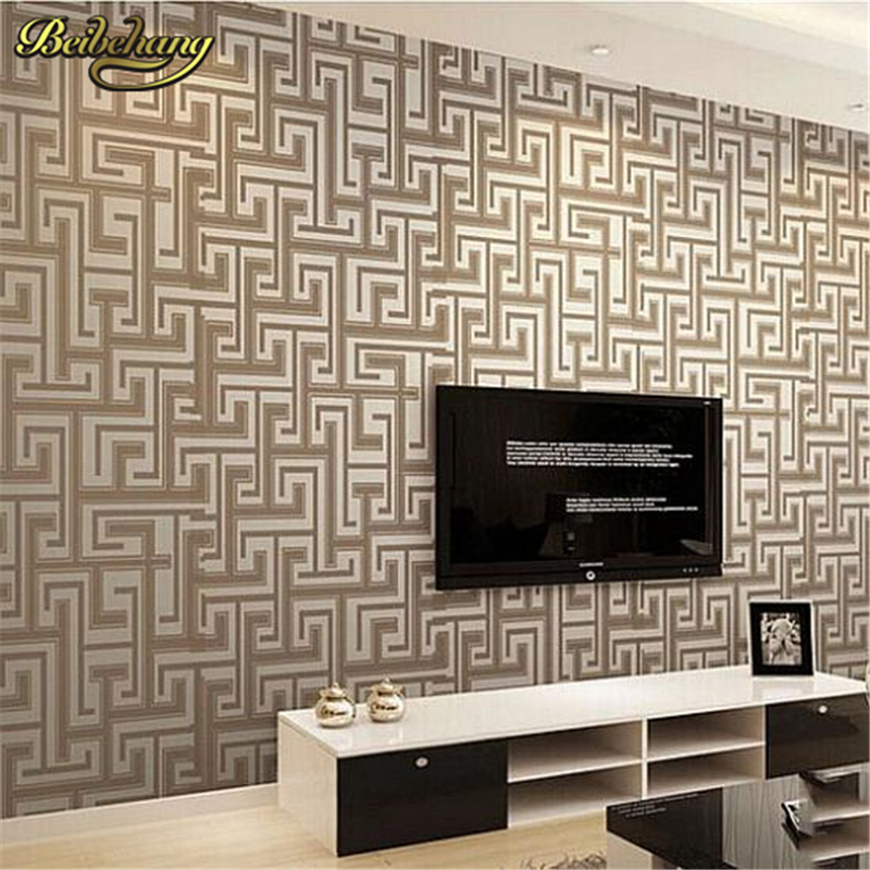 beibehang papel de parede. Modern simple designer non woven wallpaper for walls roll striped motif textured effect living room <br>