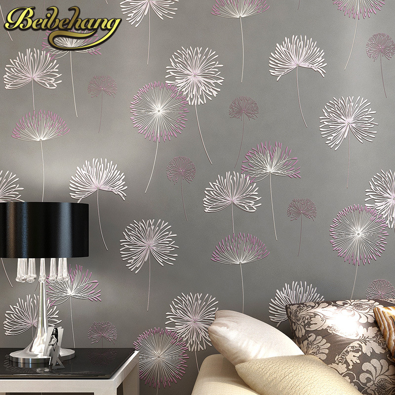 beibehang papel parede 3D Romantic Dandelion Wedding Decorative Wallpaper Non-woven Floral 3D Wallpapers Mural Wall Paper roll<br>