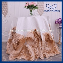 CL052 New 2017 Fancy elegant round flower fancy wedding 90 inch round champagne flower and ivory tablecloths with rose