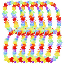 30pcs NEW Hawaiian Colorful Leis Beach Theme Luau Party Flower Necklace Garlands For Party Decoration(China)