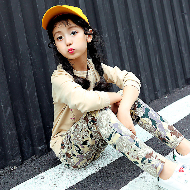 Childrens Garment Autumn New Pattern Flower Haren Sweater Pants Two Pieces Korean Girl Leisure Time Suit Kids Clothing Sets<br>
