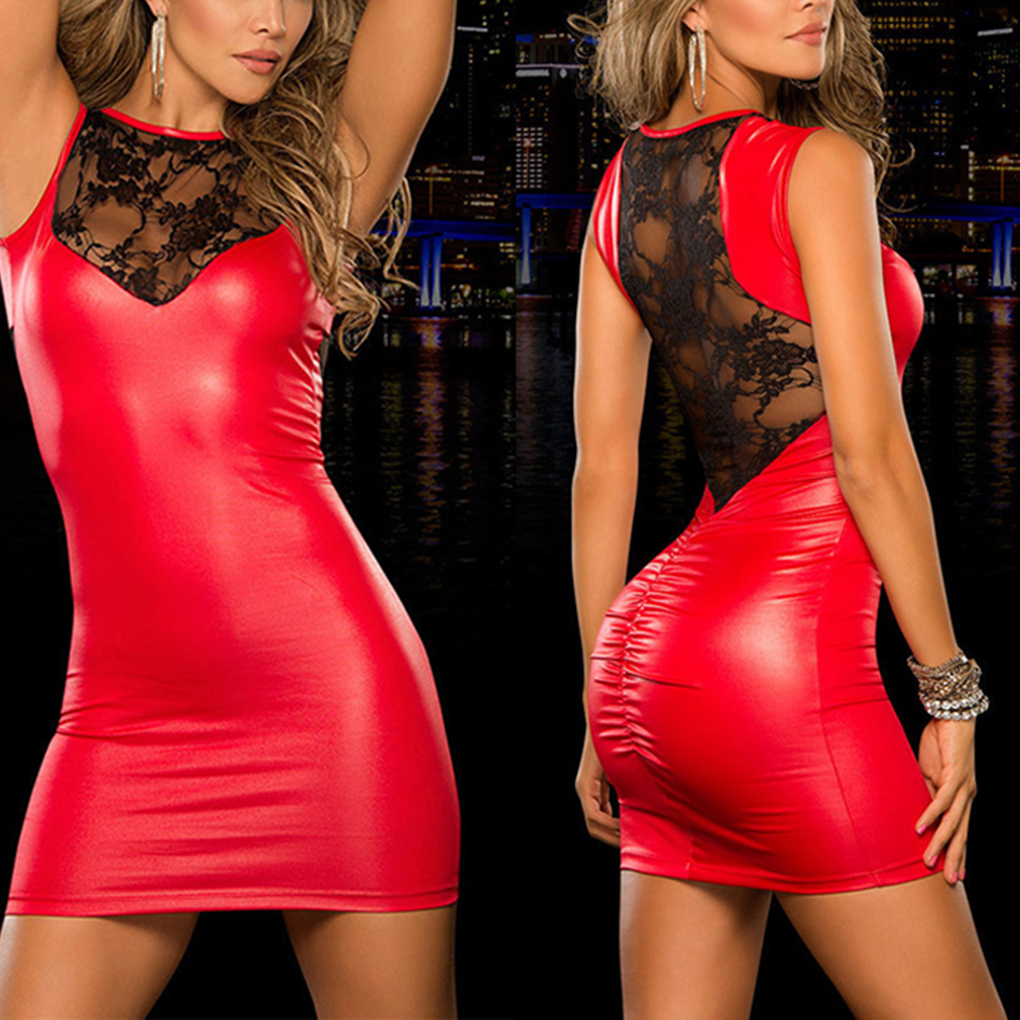 Tight-fitting  Lace Dress slim Wet Look Fetish Bondage Vinyl red PVC dress Leather Bodycon