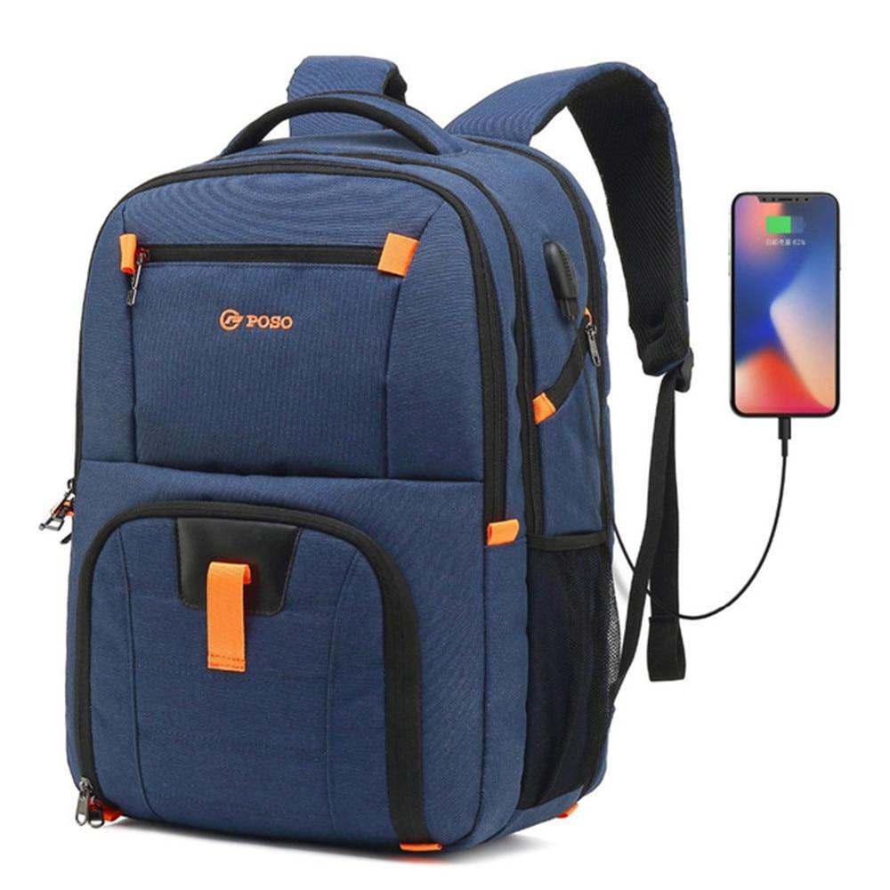 Nero Zaino per laptop antifurtoLaptop Backpack USB zaino di nylon impermeabile multifunzione di viaggio degli uomini di affari Zaini da trekking