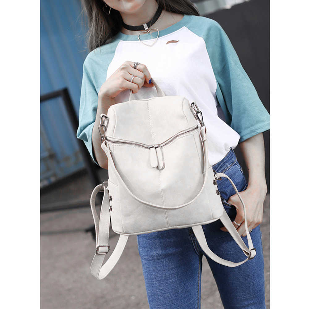 b8850ce9e3 Simple Style Backpack Women PU Leather Backpacks For Teenage Girls School Bags  Fashion Vintage Solid Black