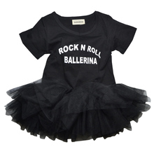 "QUIKGROW ""Rock N Roll Ballerina"" Slogan Black Baby Girl Dress Snap Button Short-sleeve Toddler Kiddie Tulle Tutu Costume NY03QZ(China)"