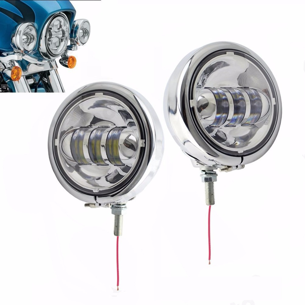 4.5inch Chrome CRE LED Auxiliary Spot Fog Passing Light Lamp with Housing Ring Monnt Bracket for Harley Touring Electra Glide<br><br>Aliexpress