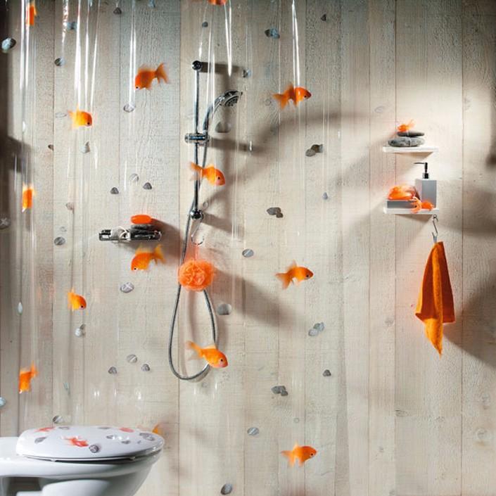 180-200cm-PVC-Transparent-Goldfish-play-Stone-Bathroom-shower-curtain-Mildew-Proof-thick-waterproof-fabric-bathroom