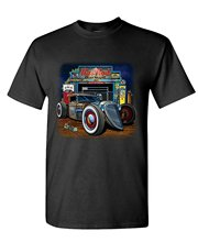 New Arrival Male Tees Casual Boy T-Shirt Tops Discounts RAT ROD GARAGE - muscle car hot low race - Mens Cotton T-Shirt