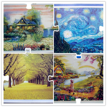 New Arrival 1000 pieces Christmas Gift Landscape puzzle Adult Children Educational toy Star Manor Lavender  Kids toys J021