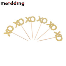 "MEIDDING 24pcs Glitter ""XO"" Cake Cupcake Toppers Bachelor Valentine Hen Party Supplies Wedding Bridal Engagement Party Decor(China)"