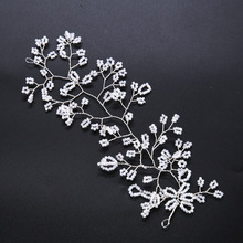 Flexible Crystal Flowers Handmade Bridal Headband Headpiece Floral Hairbands Wedding Hair Accessories  SL