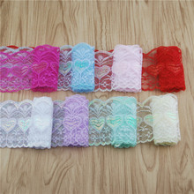80mm Love Lace Fabric Trim  8color Gorgeous Cheap Lace Ribbon Irridescent Heart DIY Packing Trim Garment Accessories 50yard Lqcx