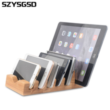 SZYSGSD Bamboo Wood Stand Dock Station Charger Holder Stand USB Hub For Apple Watch for iPhone 5 6 7 Plus for Samsung For iPad(China)