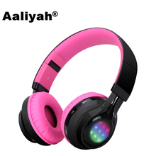Aaliyah Bluetooth Headphone LED Light Wireless Stereo Headset Earbuds with Mic Support TF Card FM Radio for iPhone Samsung Girls