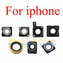 5pcs New Rear Back Camera Lens Glass Ring Cover With Frame Holder For iPhone 4 4G 4S 5 SE 5S 5C 6 6 Plus 6S 6S Plus Small Parts(China)