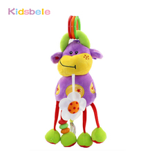 Baby Crib Hanging Musical Toy Soft Plush Rattle Mobiles Juguetes Stroller Bed Hanging Colorful Cattle Baby Toys 0-12 Months