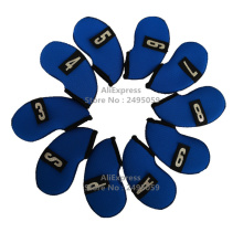 Free Shipping 2016 Newset Design 10pcs/set Blue Neoprene Golf Head Cover Club Iron Putter Head Protector Golf Clubs(China)