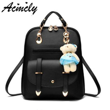 Women Leather Backpacks Bolsas Mochila Feminina Large Girls Schoolbag Travel Backpack Solid Candy Color Female Backpacks C1137/o