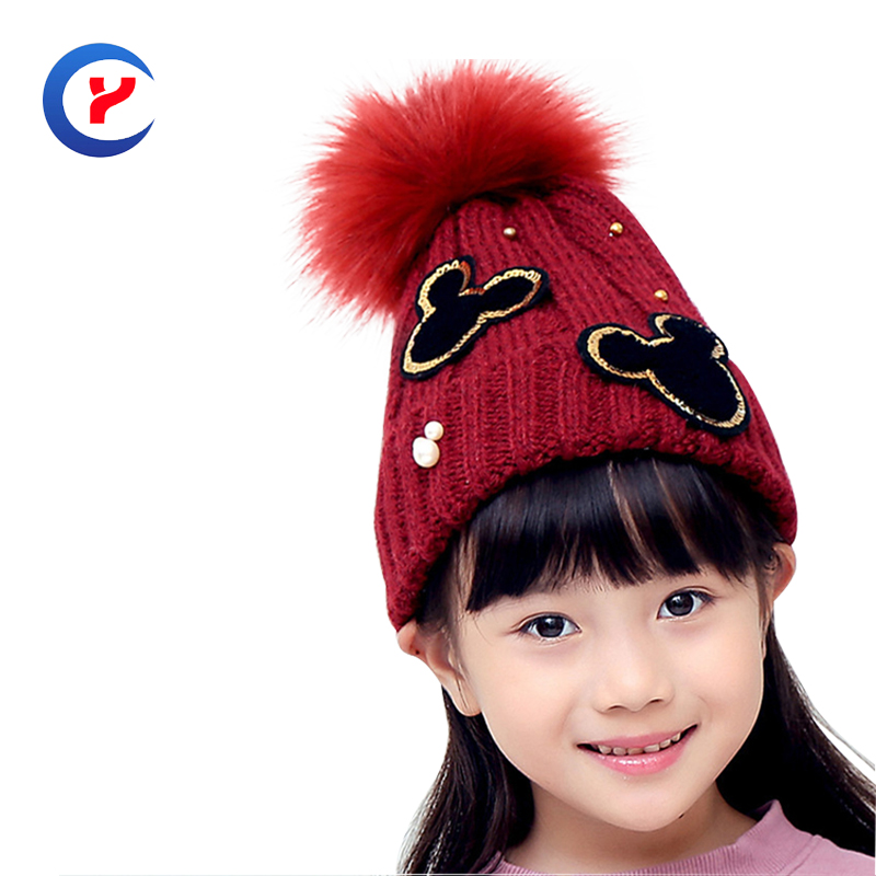 2017 New arrival girls knitted hat for children casual Mickey hat with big pompons cute jacquard Knitted hat #161107_x102Одежда и ак�е��уары<br><br><br>Aliexpress