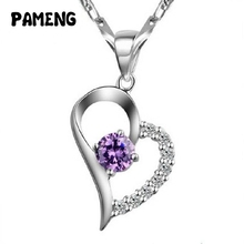 Pameng Silver Plated Water-wave Chain Romantic Heart White Purple Rhinestone Pendant Necklace for women girlfriend gifts