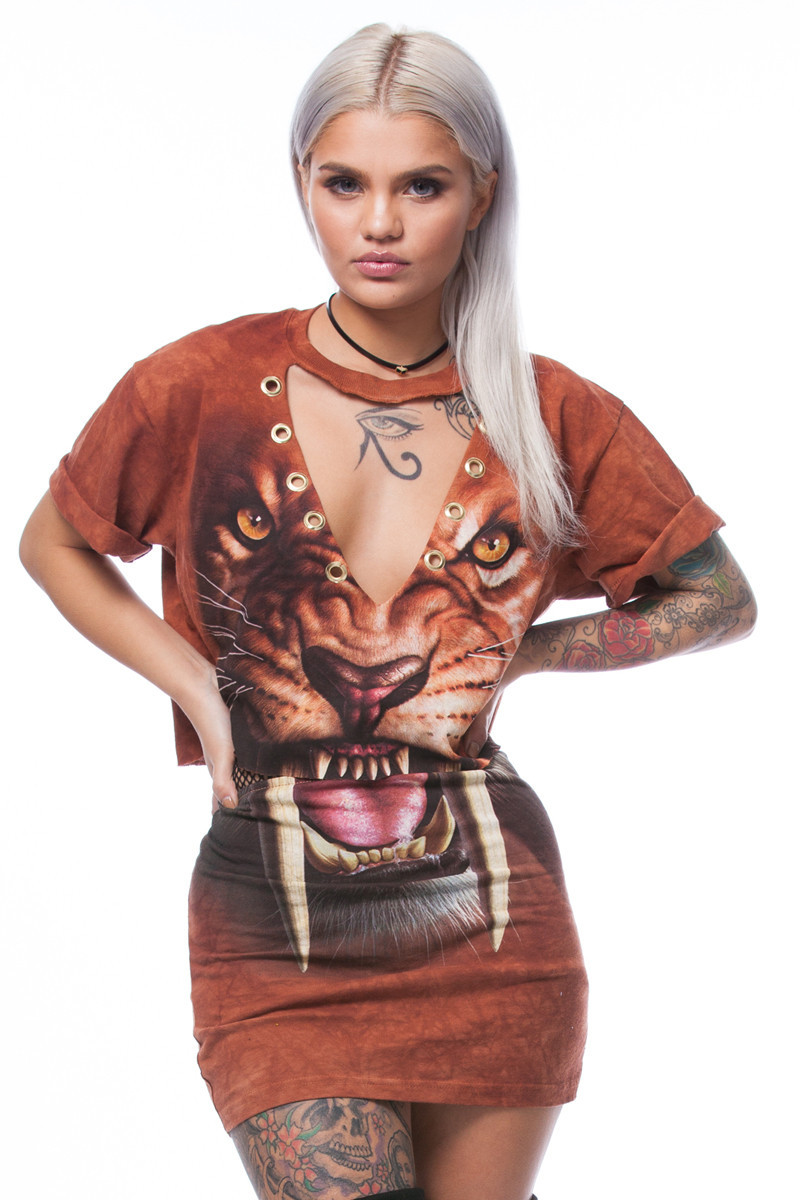 WLKE Women Dress Suit 2017 Short Sleeve Cut Out Tiger Animal Printed Dress Summer Brown Crop Top Pencil Dress Set 2 Piece KP#921(China (Mainland))