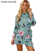 YJSFG HOUSE Women Elegant Short Evening Party Dresses Casual Sexy Ladies Flower Print Tunic Dress 2017 Autumn Long Sleeve Dress(China)