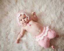Free shipping New Baby Crochet Beanie, baby pink pixie hat with pants sets Newborn Photo photography prop NB-3MONTH