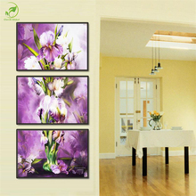 Modern 3pcs Abstract Purple Flowers Prints Art Melamine Sponge Board Canvas Oil Painting Living Room Wall Art Picture Home Decor