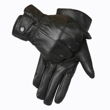 Genuine Leather Gloves Men 2015 Winter Glove High Quality Real Sheep Leather Mittens Men Genuine Sheepskin Gloves Winter YG015(China)