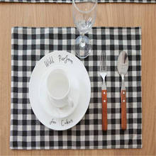 Black and white Plaid Cotton Linen Placemat Table Mat Insulation Mat Bowls Mat Western Pad Cover Cloth Napkins Cutlery