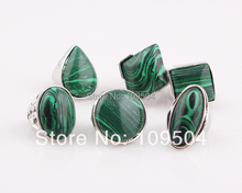 Green Natural Stone Ring Jewelry Malachite Stone Ring for Women Mothers Day Gift ZR14