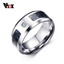 Vnox 2016 New Finger Ring for Men Male Zincon Rings Blank & Blue Carbon Fiber(China)