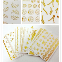 10 sheet Gold Foil Flower Stickers Metal Bronzing 3D Nai Art Stickers Decals Nail Tip Decoration Beauty Tools Manicure