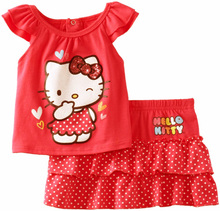 toddler spring 2017 baby girls hello kitty dress kids summer style baby clothing set