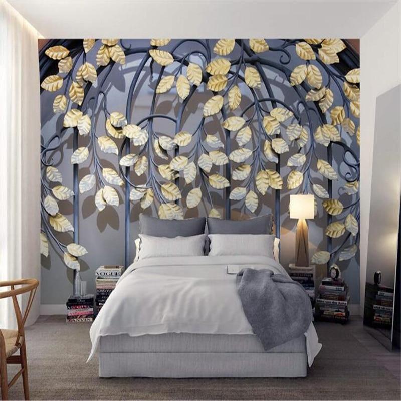 custom 3d retro metal leaf non-woven modern wallpaper 3d modern bedroom living room TV background mural wallpaper home decor<br>