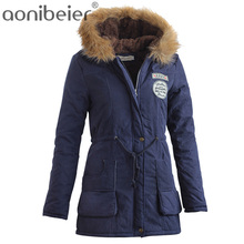 Aonibeier Parkas Women Coats Fashion Autumn Warm Winter Jackets Women Fur Collar Long Parka Plus Size Hoodies Cotton Outwear(China)