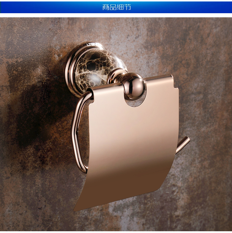 European Polished Rose Gold Tissue Box Toilet Paper Holder Antique Brass Ceramic Tissue Roll Holder Bathroom Accessories mj1<br>
