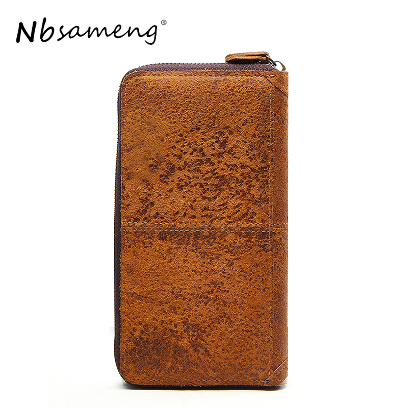 NBSAMENG Genuine Leather Unisex Wallets Large Capcitity Purse Zipper Multi-functional Purse Housekeeper Holders<br>