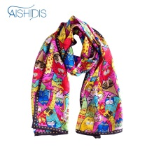 Aishidis Women Long Pure Silk Neck Scarf Scarves Animal Painting Neckerchief Satin Bandana Colorful Cats