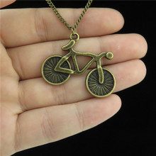 "Q537 Free Shipping 18"" Bronze Chain Alloy Collar Short Choker Necklace Bick Bicycle Pendant Kid Jewelry"