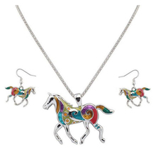 QIHE Jewelry Horse Pendant Necklace With Earring Set Fashion Trend Color horse Design Jewelry Pendant Gold Silver Special Gifts