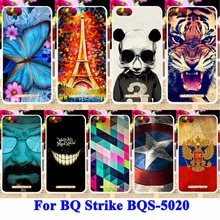 AKABEILA Durable Cell Phone Case For BQ Strike BQS-5020 BQS 5020 BQS5020 Cover Panda Tiger Captain American Shell Skin Hood Bags