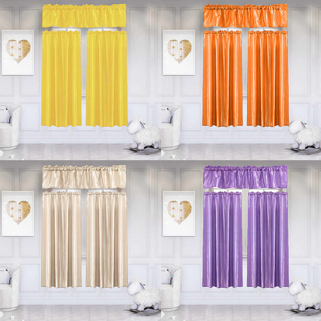 3Pcs/Set Pure Color Kitchen Home Curtain With Swag Tier Window Curtain Set Modern Window Curtain For Living Room Bedroom